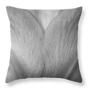 Amaryllis Flower Petals In Black And White Throw Pillow