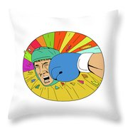 Amateur Boxer Hit By Glove Punch Oval Drawing Throw Pillow