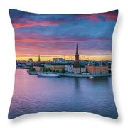 Dramatic Sunset Over Stockholm Throw Pillow