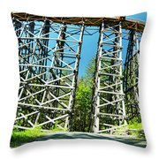 Amazing Kinsol Wooden Trestle Panorama View, Vancouver Island, Bc, Canada. Throw Pillow