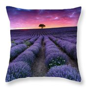 Amazing Lavender Field With A Tree Throw Pillow