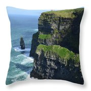 Amazing Look At The Sea Cliff's Of Moher In Ireland Throw Pillow