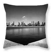 Amazing Panorama Reflection Of Dubai Jumeirah Beach, Dubai, United Arab Emirates Throw Pillow