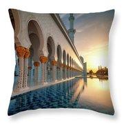 Amazing Sunset View At Mosque, Abu Dhabi, United Arab Emirates Throw Pillow