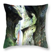 Amazing Vancouver Island Series - Sombrio Cave Waterfall  Inside  Closeup 2. Throw Pillow