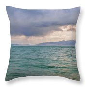 Amazing View Of Azure Sky Over Rippled Surface Of Cold Sea At Sunrise Throw Pillow