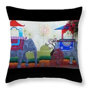 Amazing Wall Art Painting Or Elephants Throw Pillow
