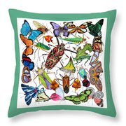 Amazon Insects Throw Pillow