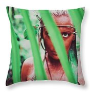 Amazonian Goddess Portrait Of A Wild Looking, Camouflaged Warrior Girl Holding Bow And Arrow Throw Pillow