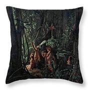 Amazonian Indians Worshiping The Sun God Throw Pillow