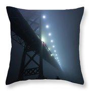Ambassador Bridge In Fog Throw Pillow