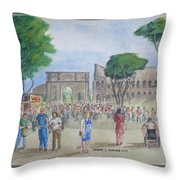 Amber At The Roman Coliseum Throw Pillow