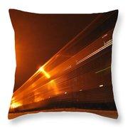 Amber Night Train Throw Pillow