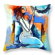 Ameeba- Nude Woman On Beach 5 Throw Pillow