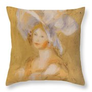 Amelie Dieterie In A White Hat Throw Pillow