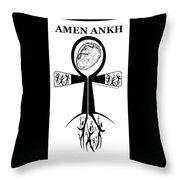 Amen Ankh Bw Throw Pillow