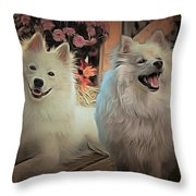 Americain Eskimo Throw Pillow
