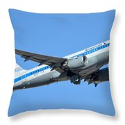American Airbus A319-0112 N744p Retro Piedmont Pacemaker Phoenix Sky Harbor January 21 2016 Throw Pillow
