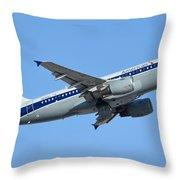 American Airbus A319-112 N745vj Allegheny Vistajet Phoenix Sky Harbor January 19 2016 Throw Pillow