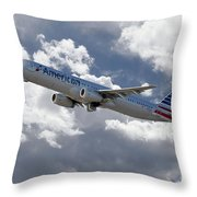 American Airlines Airbus A321 Throw Pillow