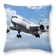 American Airlines Boeing 787 Dreamliner Throw Pillow