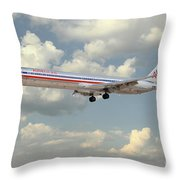 American Airlines Md-80 Throw Pillow