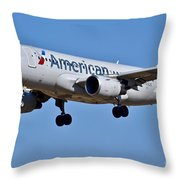 American Airlines Plane Preparing To Land At The Bwi Airport Throw Pillow