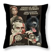 American Akita Art Canvas Print - Rear Window Movie Poster Throw Pillow