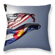 American And Colorado Flags Throw Pillow