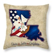 American And Louisiana Pride Throw Pillow