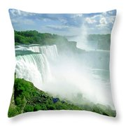 American And Niagra Falls At Niagra Throw Pillow