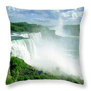 American And Niagra Falls At Niagra Throw Pillow