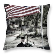 American Bagpiper Throw Pillow