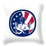American Barber Usa Flag Icon Throw Pillow