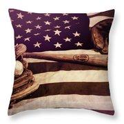 American Baseball Grunge Throw Pillow