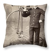 American Bicyclist, 1880s Throw Pillow