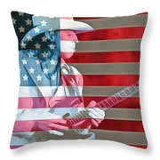 American Bluesman Stevie Ray Vaughan Throw Pillow