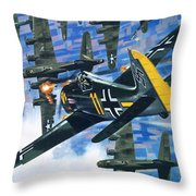 American Bombing Raid Over Europe In July 1943 Throw Pillow