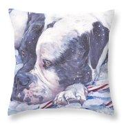 American Bulldog Christmas Throw Pillow