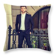 American Businessman With Beard Working In New York Throw Pillow
