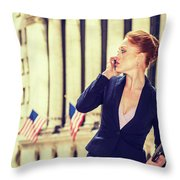 American Businesswoman Working In New York Throw Pillow
