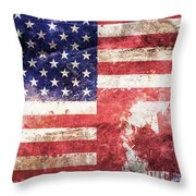 American Canadian Tattered Flag Throw Pillow