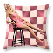American Culture Pin Up Girl Inside 60s Retro Diner Throw Pillow