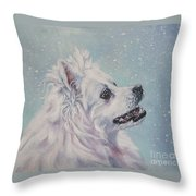 American Eskimo Dog In Snow Throw Pillow