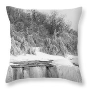 American Falls In Winter In Black And White Throw Pillow