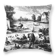American Farmyard, C1870 Throw Pillow by Granger