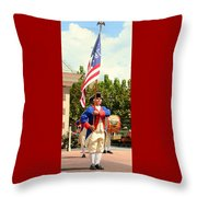 American Fife And Drum Corp Flag Carrier Throw Pillow