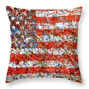 American Flag Abstract 2 With Trees  Throw Pillow