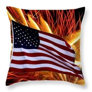 American Flag And Fireworks Throw Pillow