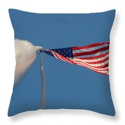 American Flag At The End Of Tall Post With Blue Skies Throw Pillow